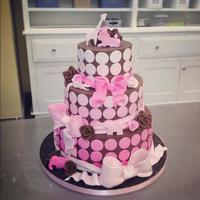 Pink Polka Dot Baby Shower Chocolate ganache with fondant decorations and gumpaste roses*