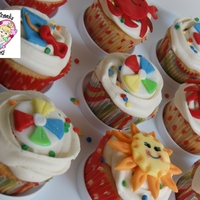 Summer's Here Cupcakes Classic White cupcakes with Vanilla Buttercream, handmade fondant toppers and rainbow sprinkles! Happy summer!!