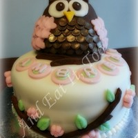 Owl Cake 1St Birthday Marshmallow fondant, inside is purple and pink checkerboard sponge cake. The owl is rice crispy treats covered in chocolate fondant....