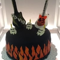 Heavy Metal Theme Cake Heavy metal cake; made for my husband. Have to say.... I did NOT like working with black fondant!! Probably will never make another black...