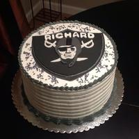 Oakland Raiders Themed Cake! *two 9' layer cake, chocolate ganache AND almond buttercream filling, iced in vanilla/ almond buttercream. ALL gumpaste/fondant plaque...
