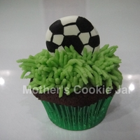 Soccer-Themed Cupcake Valrhona Chocolate Cupcake with royal Icing soccer ball (hand-drawn and painted)