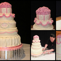 Pink And Ivory Wedding Cake  such huge cake it took such a long time to complete and was around 30kilos! the bride chose the scheme and colouing and the board was...
