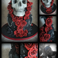 Skull Cake I think this maybe on my favourite list for the year!skull cake made with almond cake and iced, all roses handmade from sugar and dusted,...