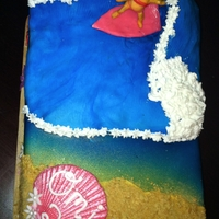 Surfer Girl Cake   Surfer Girl Cake, Wave made of rice crispies, little girl made out of Modeling Chocolate