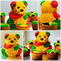 West Indian Country Teddy Bear Cake And Cupcake Inspired by the West Indian day parade. Mini teddy bear and cupcakes