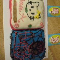 Spider Man Meets Hello Kitty  Its two completely different cakes but I tried to make it look like one. Hello Kitty is a strawberry cake with cream cheese frosting while...