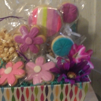 Cookie Pops Gift Basket Cookie pops and caramel corn