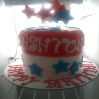 4Th Of July/birthday Cake My first attempt at a ice cream cake, definitely a learning experience lol...2 layers of cake with a layer of homemade vanilla bean ice...