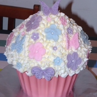 Pink Butterfly Flowery Giant Cup Cake Pink Butterfly Flowery Giant Cup Cake