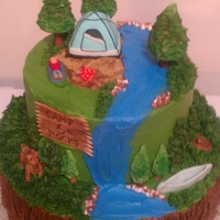 Camping Cake Fudge marble and buttercream with fondant accents