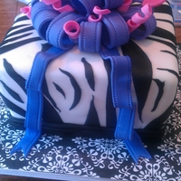 Zebra Cake   Zebra print fondant with purple bow
