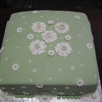 Green And White Square Flower Cake