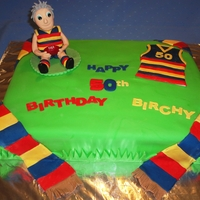'crows' Football Team Themed 50Th Cake choc mudcake with choc buttercream filling