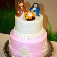 Nativity Cake The cake was for a woman's ministry Christmas party. The bottom of the cake was and 8 inch cake done in the theme of the party. Pink...