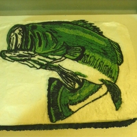 Bass Fisherman's Groom's Cake 2 layer Cake Boss White Velvet Wedding Cake flavor cake; Vanilla buttercream and FBCT of bass fish