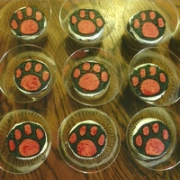 Paw Print Cupcakes Marble/Van buttercream cupcakes with FBCT paw prints in school colors. Donation for cake walk at local block party at daughter's...