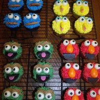 Sesame Street Cupcakes Sesame street cupcakes; marble cake with vanilla buttercream and marshmallow fondant facial features