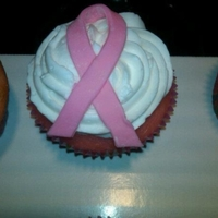 Breast Cancer Awareness Cupcake I made 4 dozen of these for a bake sale to raise money for a breast cancer awareness fund at a local hospital. They are pink french vanilla...