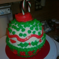 Christmas Ornament vanilla sponge cake with buttercream frosting. I used my sphere sports ball mold and a candy cane for the hook