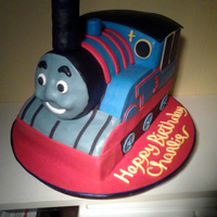 Thomas The Train   Train is covered in fondant, the smoke stack is made out of marshmellow treats and then covered in fondant.