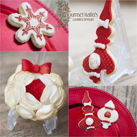 Elegant Christmas Cookies Fondant covered Christmas cookies