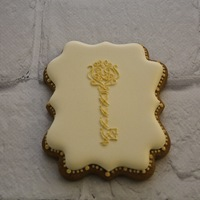 Royal Icing Decorated Cookie With Hand Piped Key Heart Themed Royal icing decorated cookie with hand piped key (heart themed)