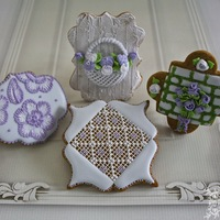Country Chic Cookies!!! Needlepoint, 2 tone brush embroidery, wood and stone effect with moss plus piped roses and pansies...