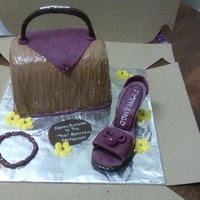 Purple Shoe And Chocolate Purse Cake Purse and Shoe Cake
