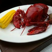 Lobster This little guy was created as a surprise groom's cake. He is sculpted from devil's food cake. All items (including corn, clam,...