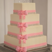 Crystal & Pink Wedding Cake