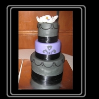 Gray And Purple 60Th Birthday Cake I made this three tier cake in grey, black and purple for my mom's surprise 60th birthday party. She loves chocolate....so the whole...