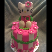 Hello Kitty Cake  This hello kitty cake was a cake topper for a cupcake tower. Hello kitty is made with rice krispy treats, molding chocolate and fondant -...
