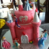 Princess Castle Birthday Cake Castle cake with rainbow cake inside .