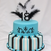 2 Tiered 18Th Birthday Cake  I love the colours of this cake and the feathers finish it off beautifully.Handpainted scroll design. Please stop by my facebook page for...