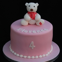 Snowflake The Bear - A Sugarpaste Replica Of The Child's Own Teddy - Sits On Top Of Her Cake