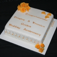 Golden Wedding Anniversary Cake With Yellow Roses
