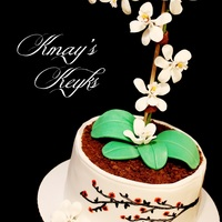 Orchid Cake With Cherry Blossom Hand Painted Design Orchid Cake with Cherry Blossom Hand Painted Design