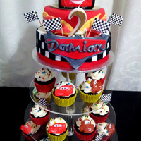 Disney Car's Cupcake Tower I made this Car's cupcake tower for my friend's son's 2nd birthday.