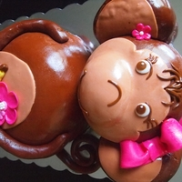 Girl Monkey Cake Chocolate cake covered in MMF with MMF accents.