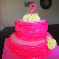 Pink Ruffle Flower Pom Cake Covered in MMF-- ruffles are a combination 30% gumpaste 70% fondant. TFL!