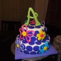 Polka Dots & Quilled Flower Cake
