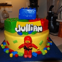 "Lego Ninja Man Cake Lego Cake with a Ninja Man! ""funfetti"" scratch cake ((vanilla with sprinkles!)) Covered in MMF. Big LEgo blocks are cake covered..."