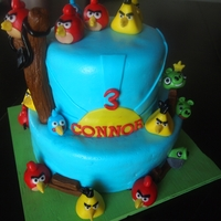 Angry Birds Angry Birds -- Chocolate cake with raspberry filling iced with SMBC covered with MMF. Decorations fondant and gumpaste mixture ... thanks...