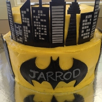Yellow Buttercream With Gumpaste Buildings And Batman Symbols Grey Gumpaste Painted With Black Paste Colour   yellow buttercream with gumpaste buildings and batman symbols (grey gumpaste, painted with black paste colour)