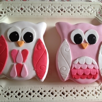 Owls   My first attempt at making and covering a cake with MMF.