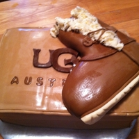 Ugg Boots The boot was actually made out of modeling chocolate and covered in fondant, and the cake was dutch chocolate covered in fondant