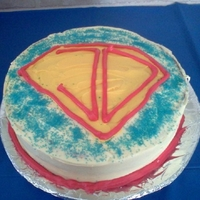 Super Jd! This cake went along with the super hero cake pops i made for my son. Instead of an 'S' for superman, i used my sons initials.