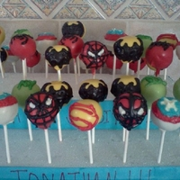 Super Hero Pops My son requested super hero cake pops. These were inspired by various pictures I saw. very time consuming but so worth the look on his face...