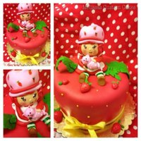 Strawberry Shortcake strawberry shortcake mini cake with fondant strawberry shortcake figurine :)